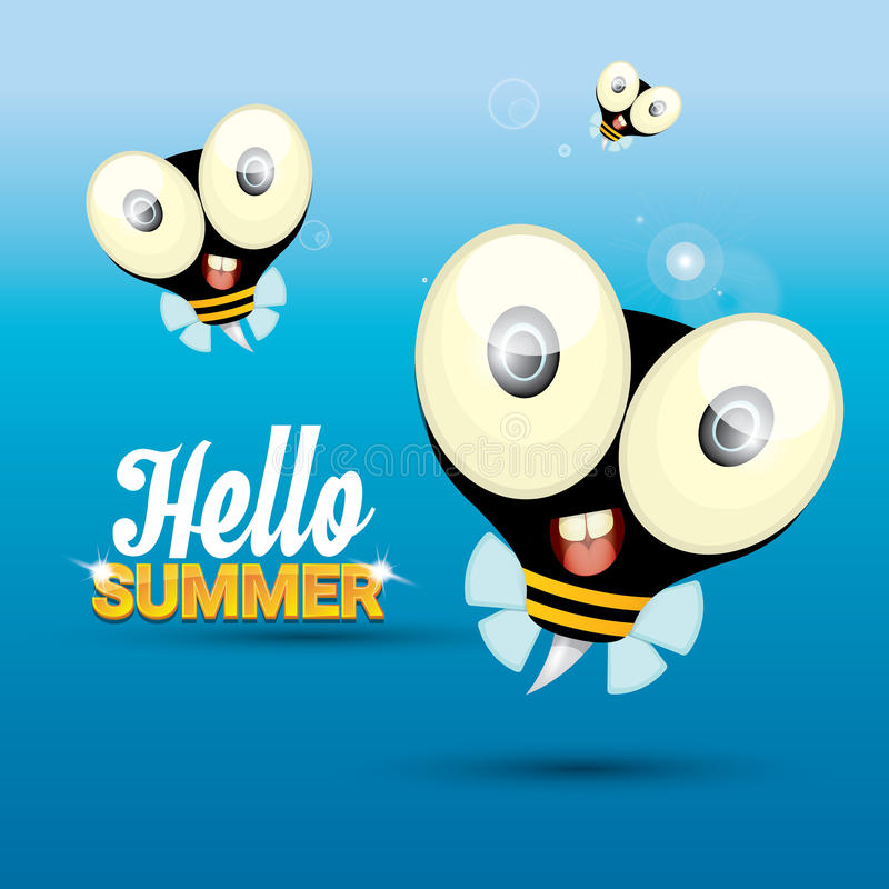 Etonnant Download Hello Summer Vector Background. Funny Cartoons Bee Stock  Illustration   Illustration Of August,
