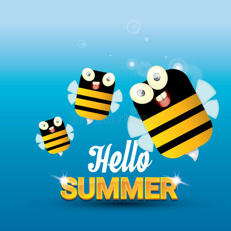 Delicieux Download Hello Summer Vector Background. Funny Cartoons Bee Stock  Illustration   Illustration Of Creative,