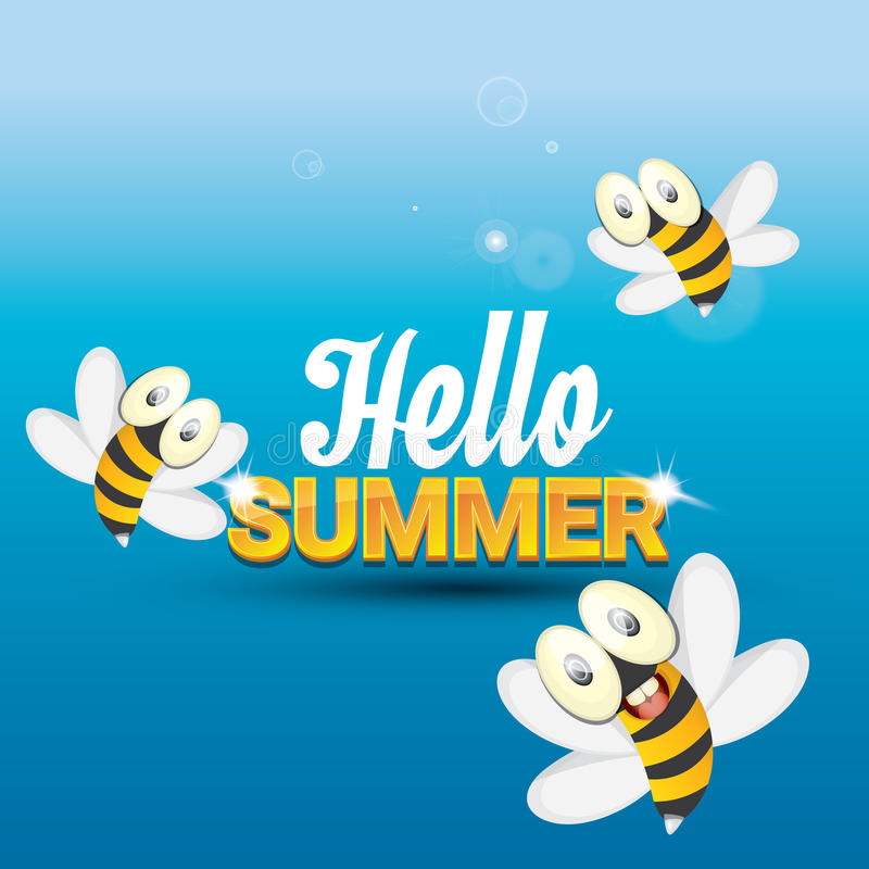 Delicieux Download Hello Summer Vector Background. Funny Cartoons Bee Stock  Illustration   Illustration Of Comic,