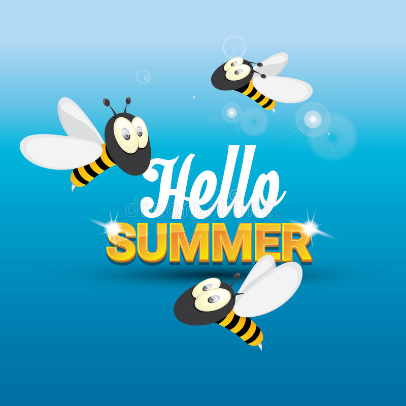 Merveilleux Download Hello Summer Vector Background. Funny Cartoons Bee Stock  Illustration   Illustration Of Comic,