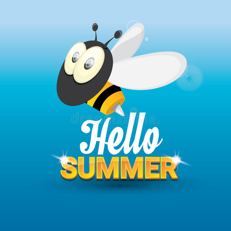 Merveilleux Download Hello Summer Vector Background. Funny Cartoons Bee Stock  Illustration   Illustration Of Happy,