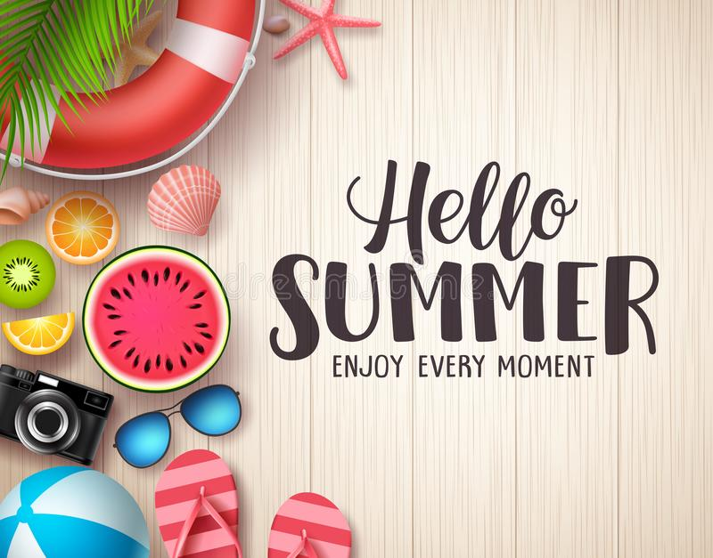 Hello summer vector background. Summer text in wood textured background with colorful beach elements royalty free illustration