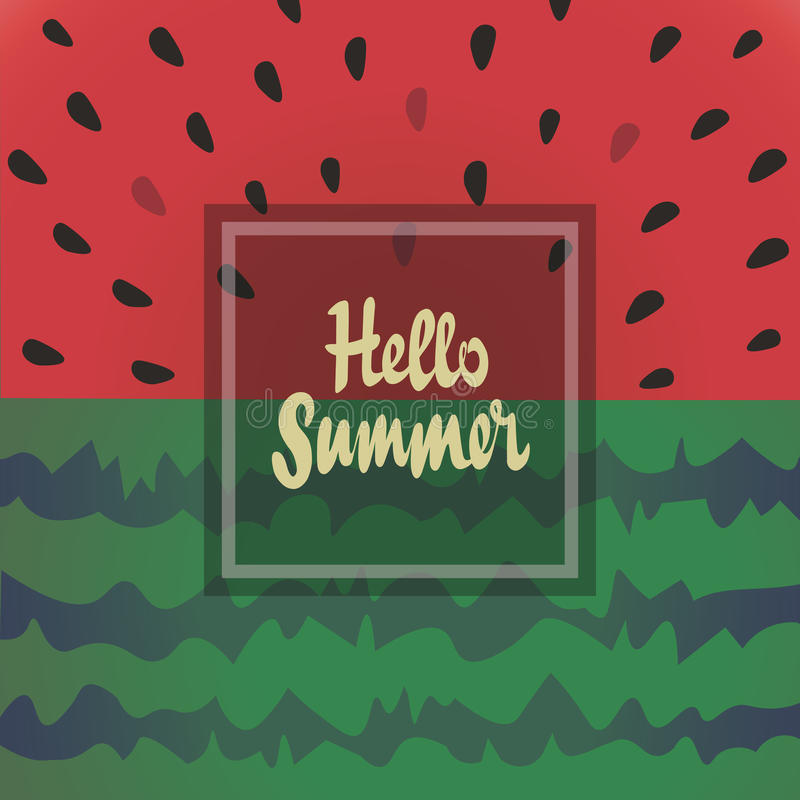 Hello summer vector background with watermelon. stock illustration