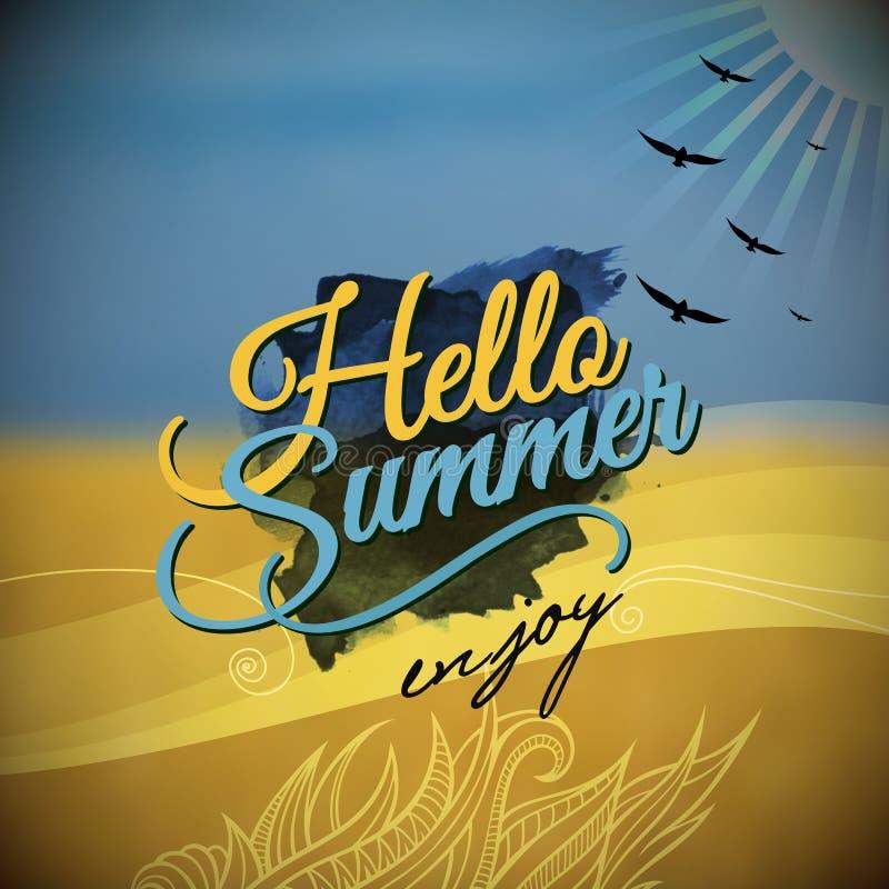 Hello Summer Vector Blurred Background Stock Vector