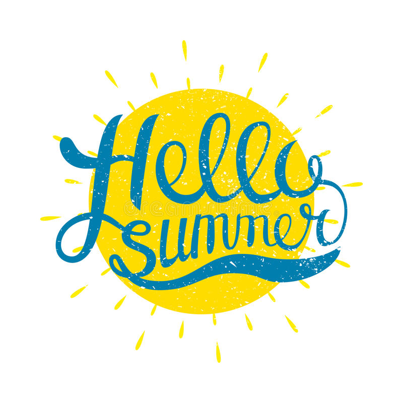 Hello Summer vector illustration isolated on white background. Fun quote. Hand lettering inspirational typography poster. With rays. Handwritten banner, logo royalty free illustration