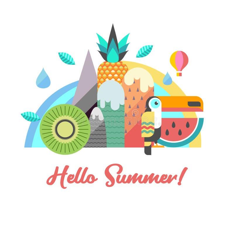 Hello summer. Vector illustration. stock illustration
