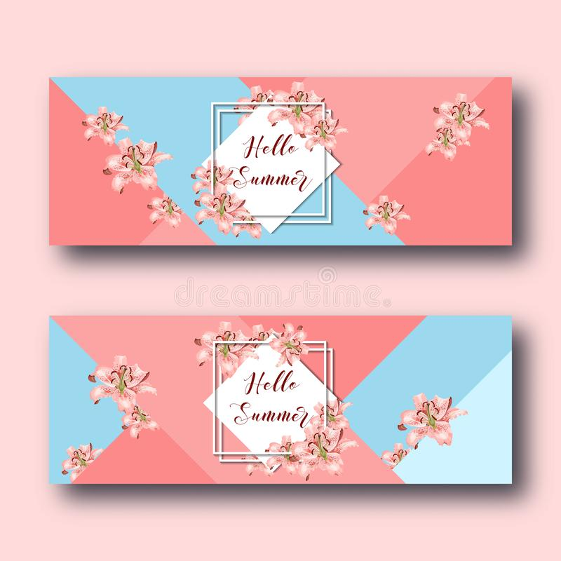Hello summer web banners set with lily flowers, white diamond frame and text on coral and blue. vector illustration