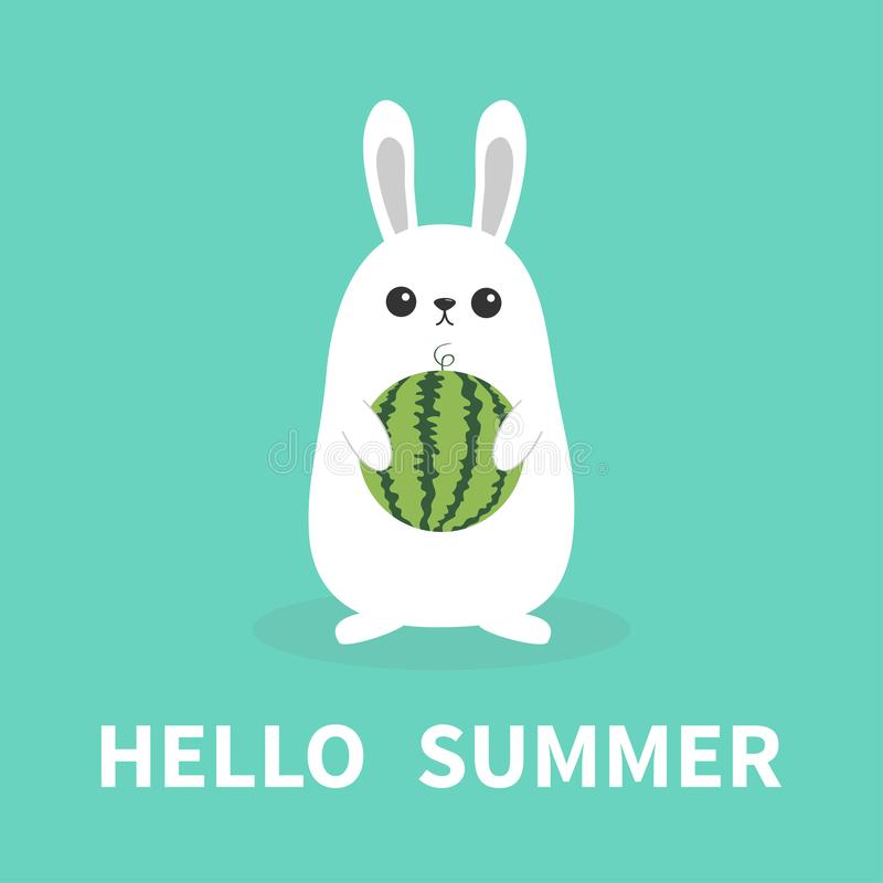Hello summer. White bunny rabbit holding whole ripe watermelon . Funny head face. Cute kawaii cartoon character. Big ears. Baby gr. Eeting card. Blue background stock illustration