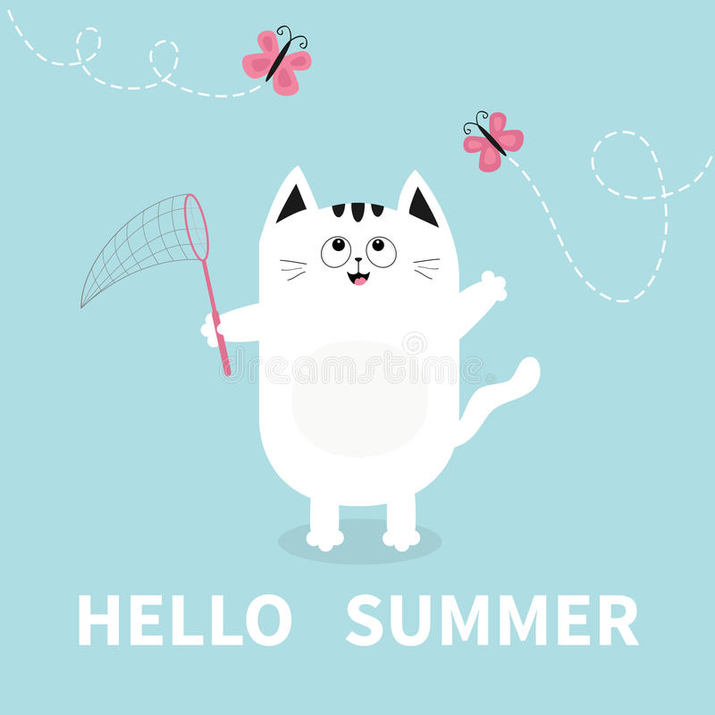 Superieur Download Hello Summer. White Cat Pink Butterfly Insect, Net. Dash Line  Track.