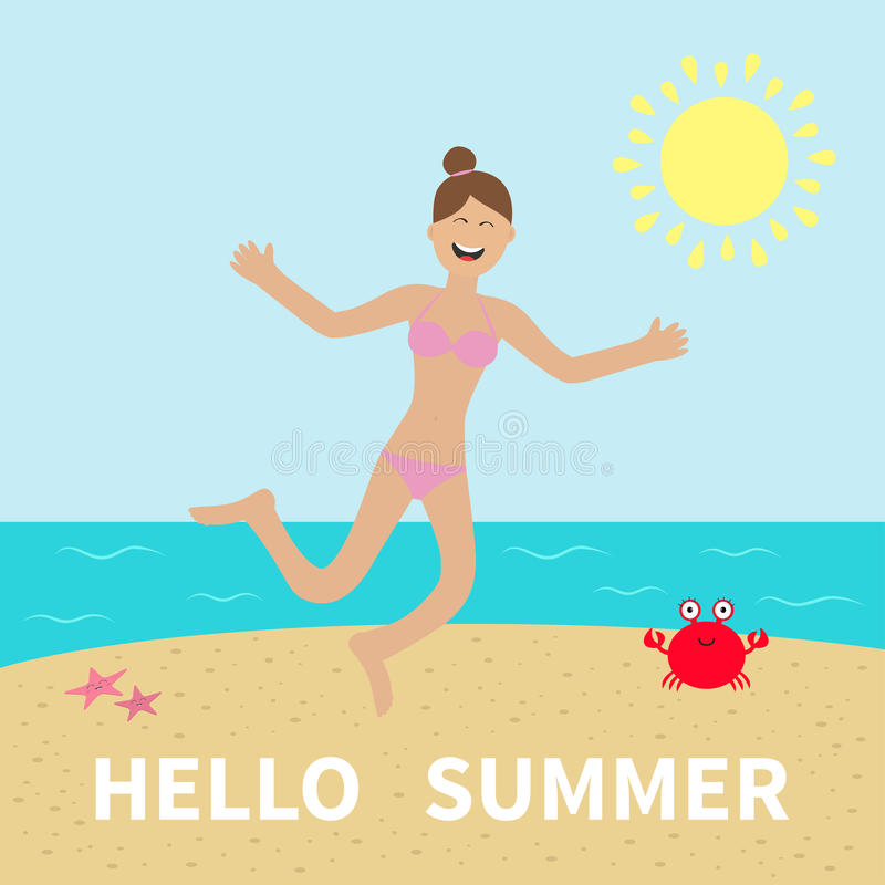 Hello summer. Woman wearing swimsuit jumping. Sun, beach, sea, ocean, crab, starfish. Happy girl jump. Cartoon laughing character vector illustration