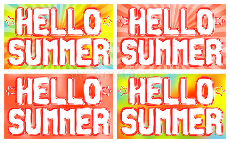Hello Summer words on the poster. Bright background with radiating rays. Vector illustration royalty free illustration