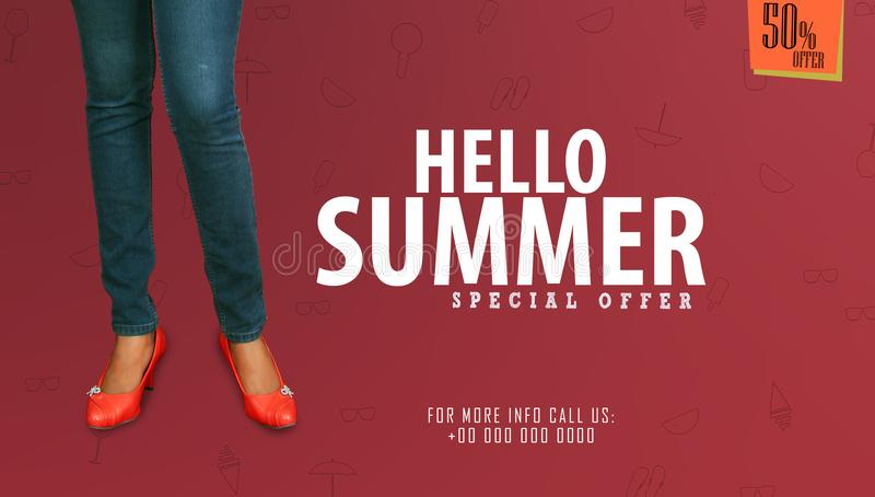 `Hello Summer` Young girl posing on studio background in summer sale promotional banner templates. stock photos
