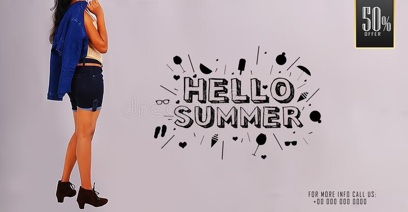 `Hello Summer` Young girl posing on summer sale promotional banner templates. `Hello Summer` Young girl posing on summer sale promotional banner royalty free stock photography