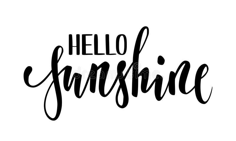 Hello sunshine hand drawn calligraphy and brush pen lettering