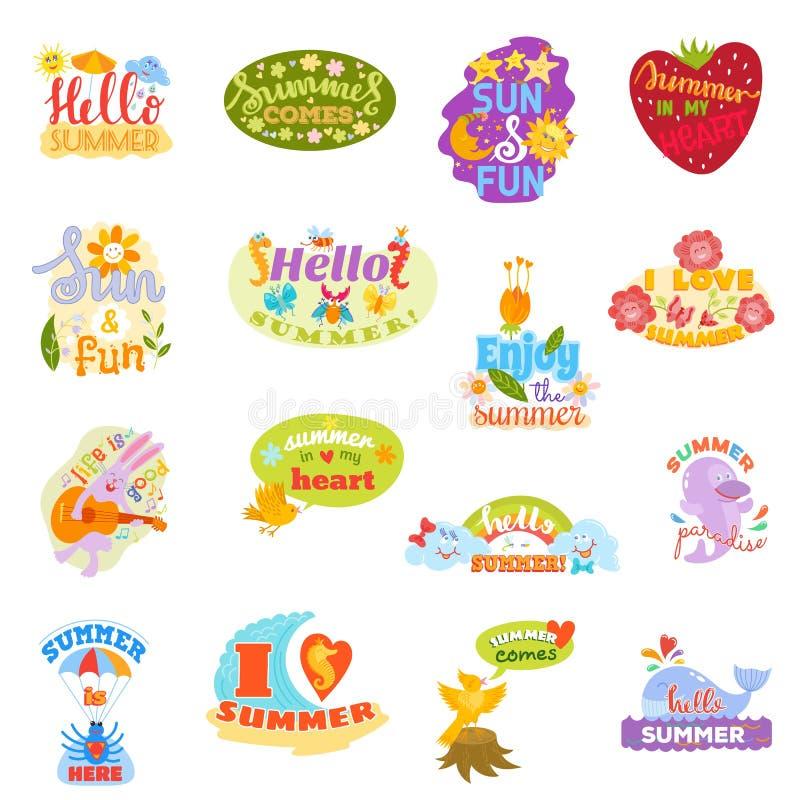 Hello-teken van het de Zomer het typografische embleem met achtergrond Overzeese installaties, zon, strand, zonnebril, vogelsover vector illustratie