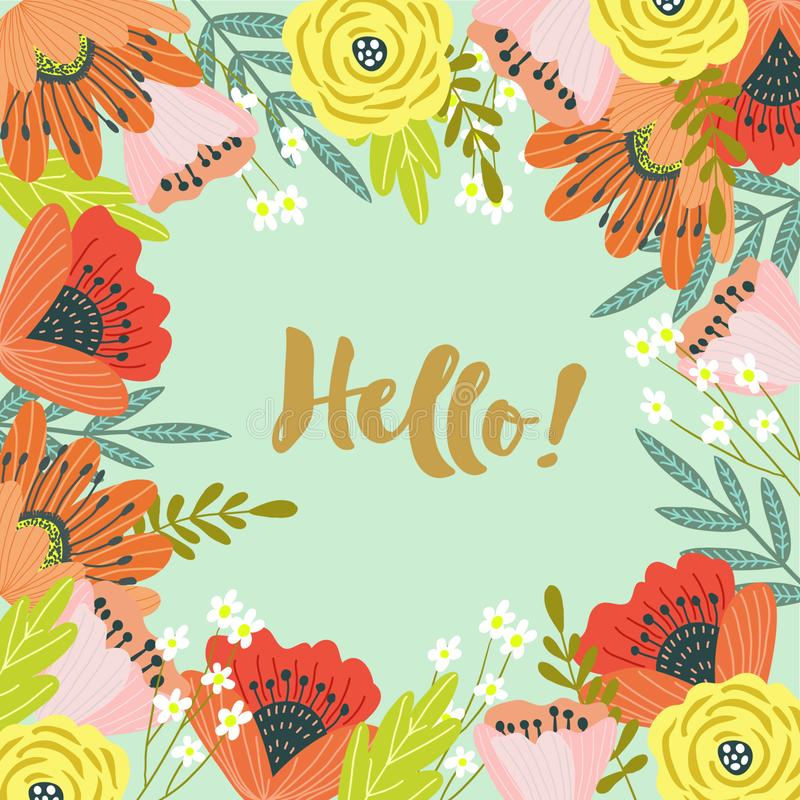 Hello. Template for cards and banners with cute doodles flowers wirh text, vector. Illustration stock illustration