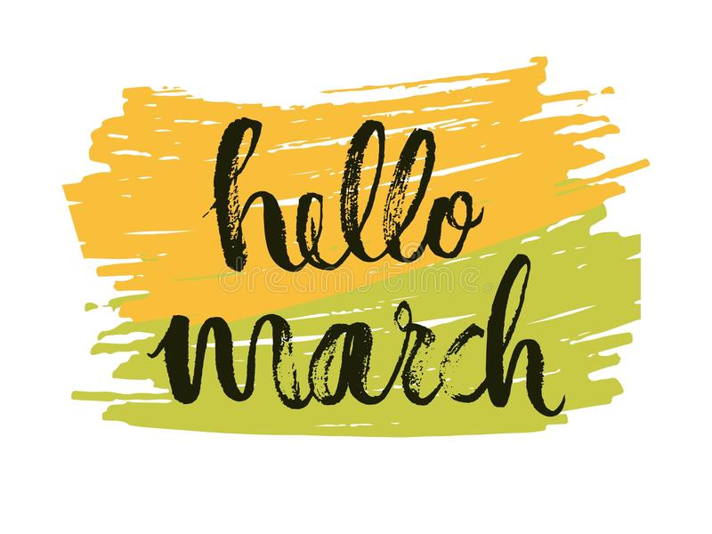 Hello to the month of March. Spring is a time language drawing on yellow-green background. Vector. Illustration royalty free illustration