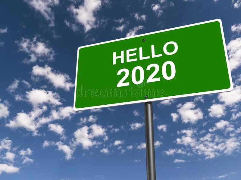 Hello 2020 traffic sign. On blue sky stock photo