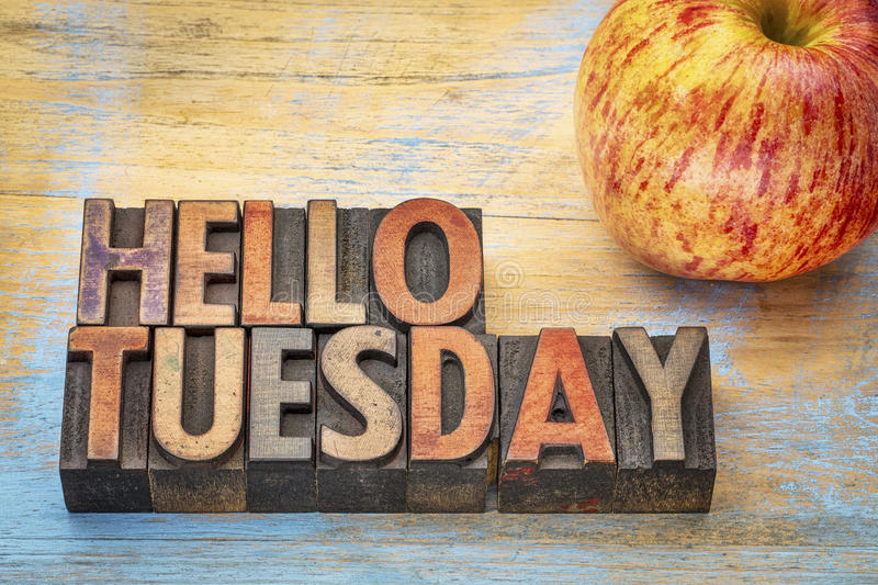 Hello Tuesday in wood type royalty free stock images