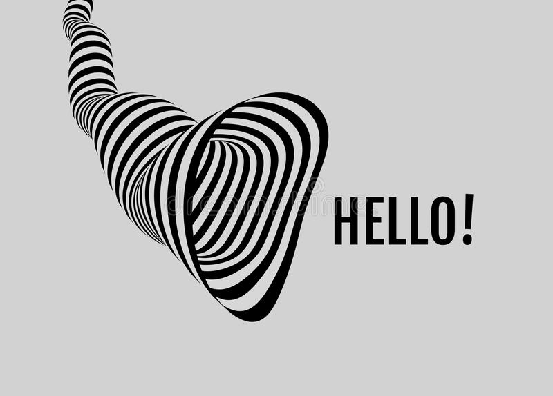 Hello! Tunnel. Abstract striped background. Optical art. stock illustration