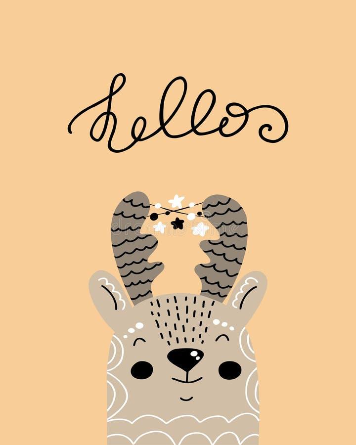 Hello - utdragen barnkammareaffisch för gullig hand med hjortar och bokstäver för tecknad filmtecken djura i scandinavian stil stock illustrationer