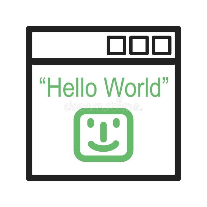 Download Hello världsprogram vektor illustrationer. Illustration av skärm - 78729564