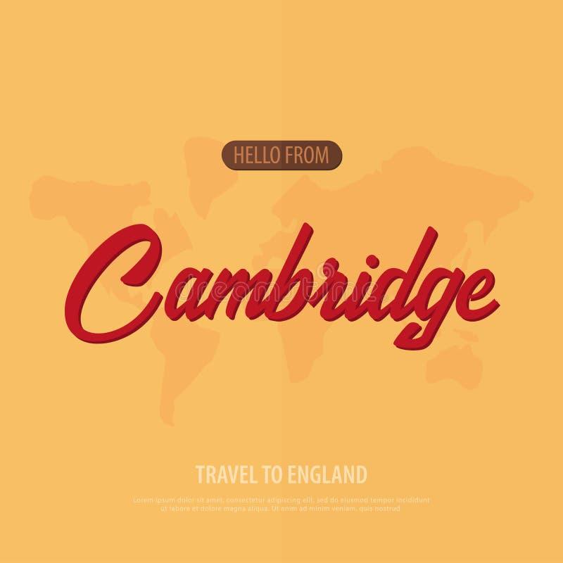 Hello van Cambridge Reis naar Engeland Toeristische groetkaart Vector illustratie vector illustratie