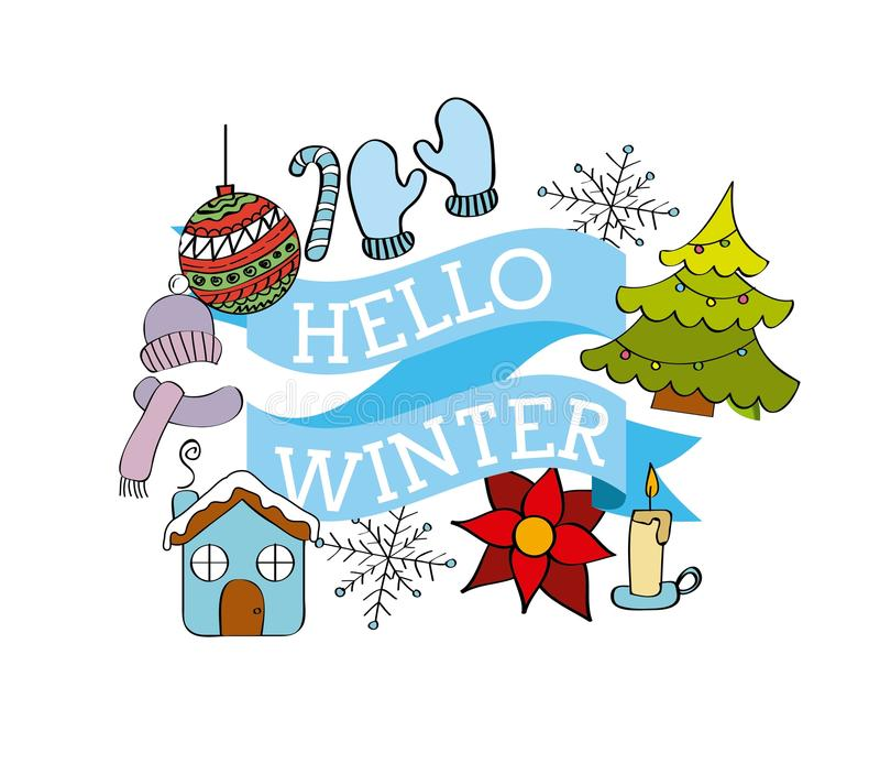 Hello-van de de boombal van het wintertijdweer van de de handschoenenbloem het lintdecoratie vector illustratie