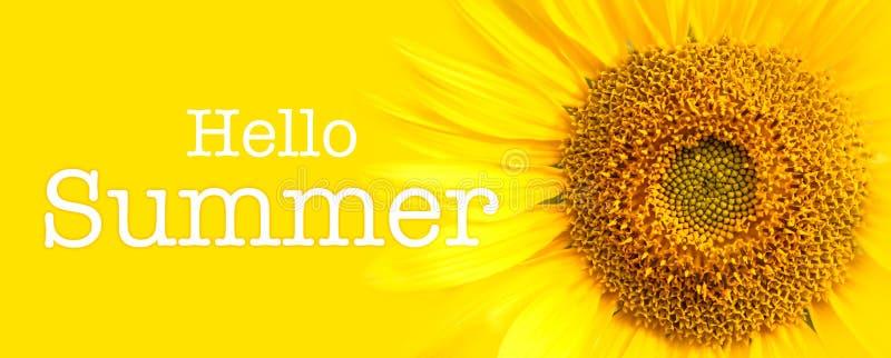 Hello-van de de Zomertekst en zonnebloem close-updetails op gele bannerachtergrond stock afbeeldingen