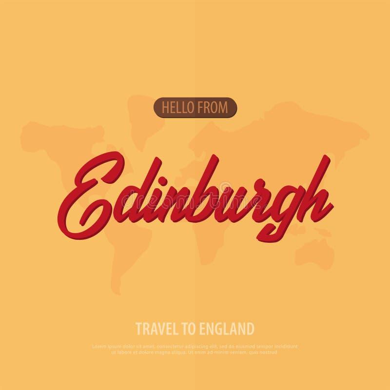 Hello van Edinburgh Reis naar Engeland Toeristische groetkaart Vector illustratie stock illustratie