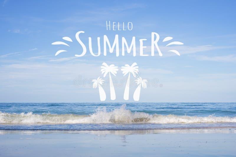 Hello-van het de Zomer mooi tropisch strand concept als achtergrond Overzeese Achtergrond met het Van letters voorzien Hello de Z royalty-vrije illustratie