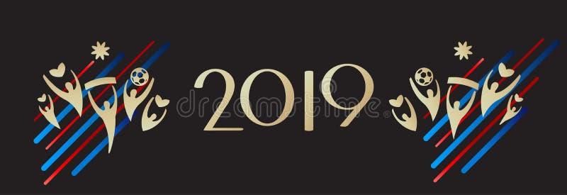2019 HELLO-van het Nieuwjaarkerstmis van de de Wintervakantie Gelukkige de Decoratie Mooie KAART vector illustratie