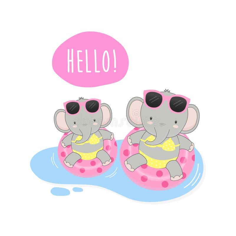 Hello-waren de de zomer leuke olifanten bikini en zwemmen ringsbeeldverhaal stock illustratie