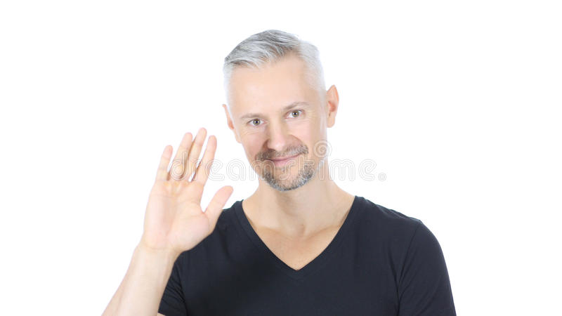Hello, Waving Hand, Excited Middle Aged Man, White Background royalty free stock photos