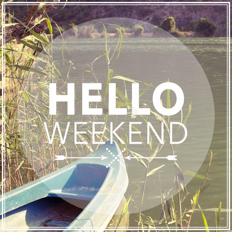 Hello Weekend stock photography