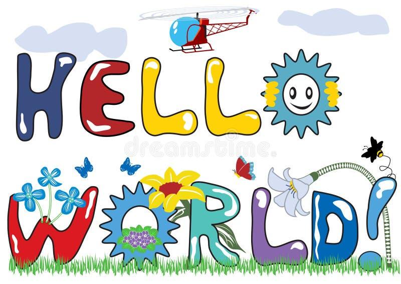 Hello wereldbrieven vector illustratie