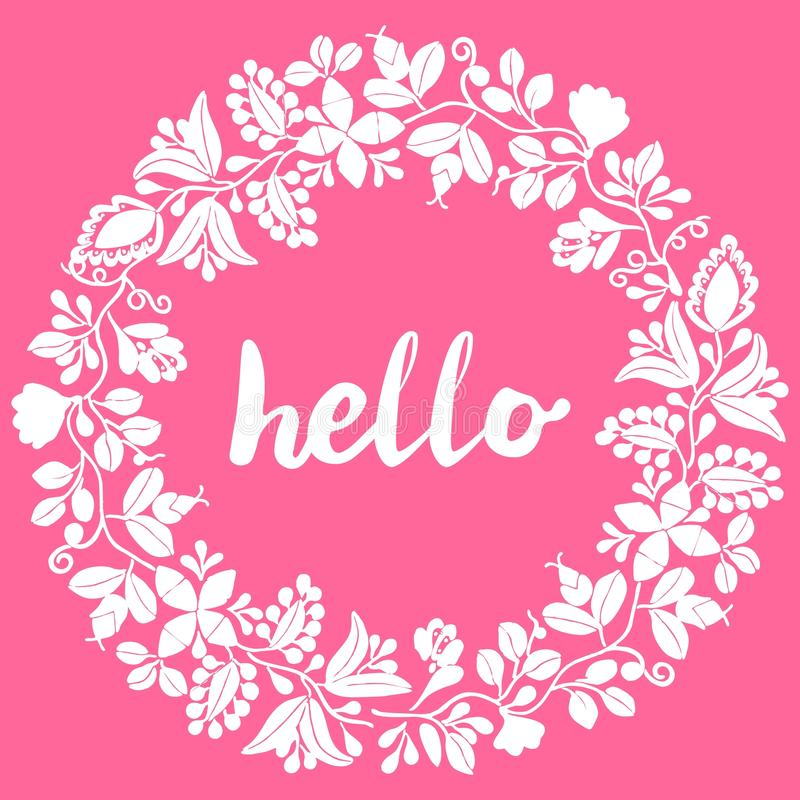 Hello, white wreath vector frame isolated on pink background royalty free illustration