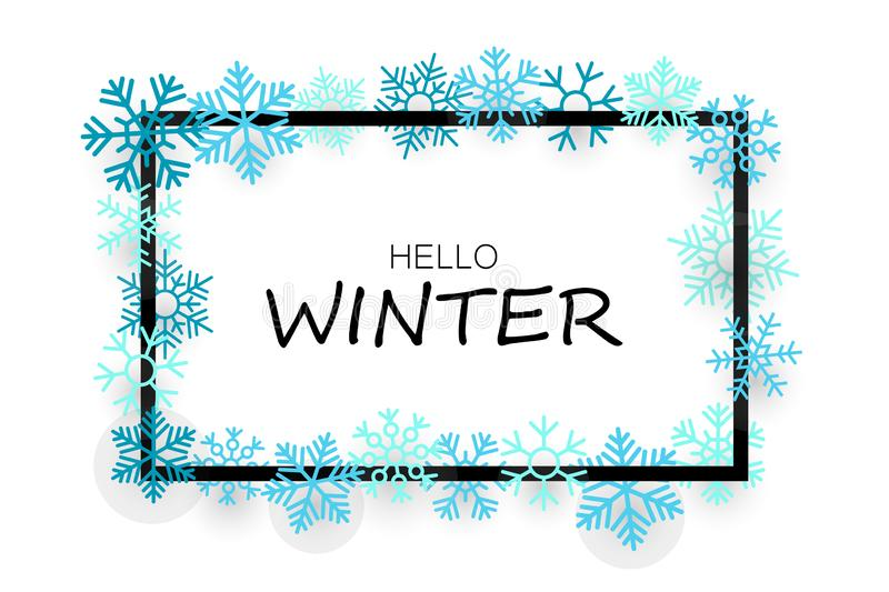 Hello winter banner with snowflakes royalty free illustration