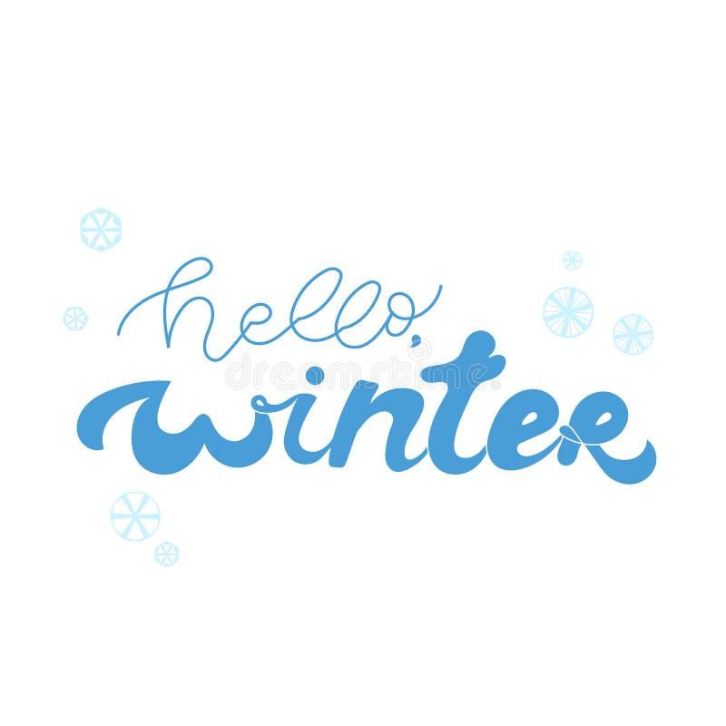 Hello winter blue hand lettering on white background vector illustration royalty free illustration