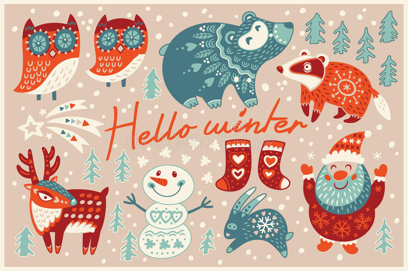 Genial Download Hello Winter Card In Cartoon Style Stock Vector   Illustration Of  Holiday, Celebration:
