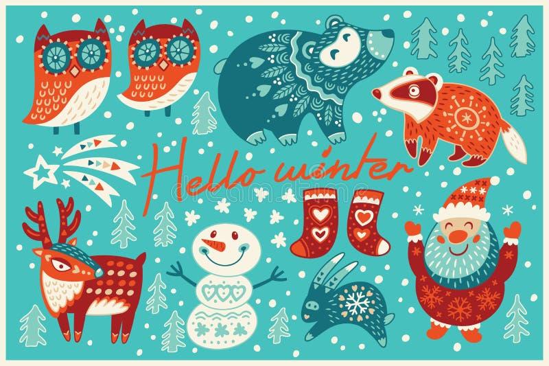 Hello winter card in cartoon style stock illustration