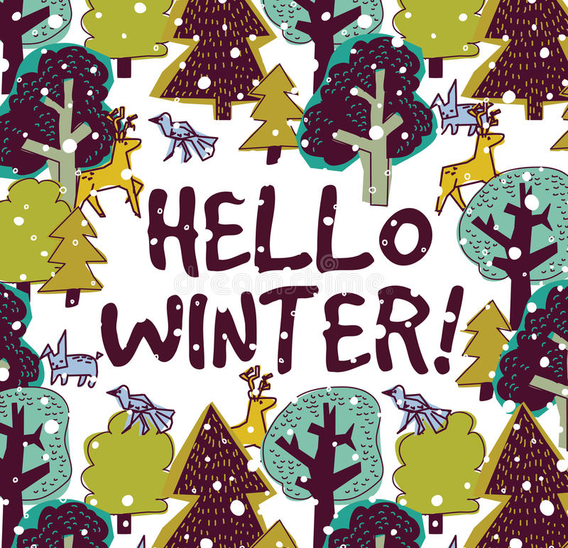 Hello winter color card and snow forest. vector illustration