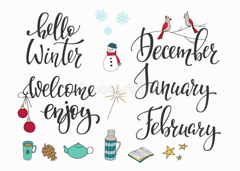 hello winter set stock illustration