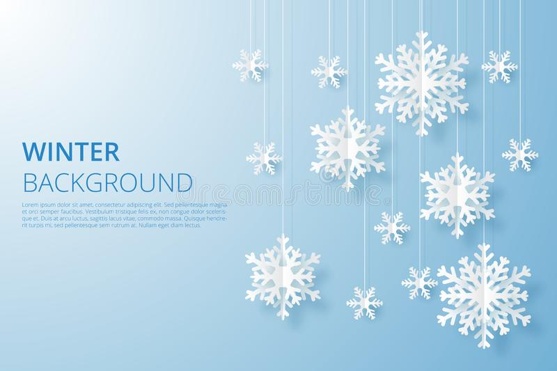 Hello Winter design background. Origami snowfall. Vector Illustration vector illustration