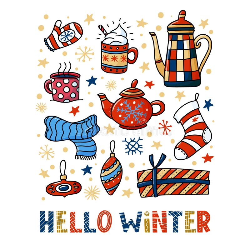 Hello Winter greeting card design, funny doodles vector illustration