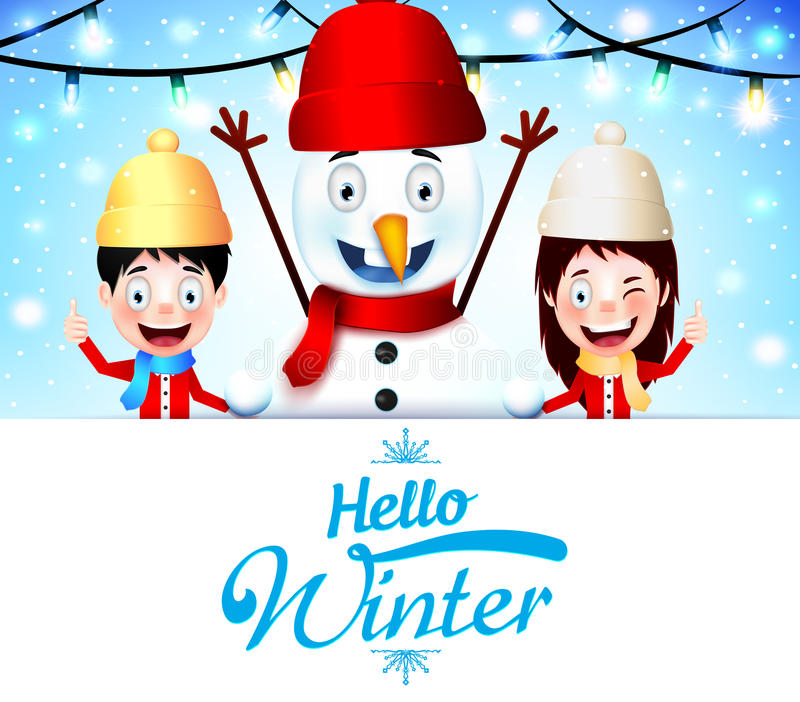 Hello Winter Greeting With Kids Vector Characters and Snowman with Empty White Space stock illustration
