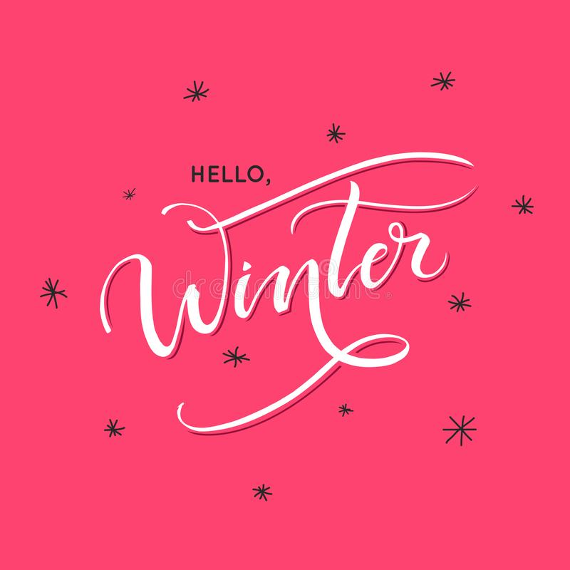 Hello,winter lettering - Perfect Xmas design for greeting cards and invitations. stock image