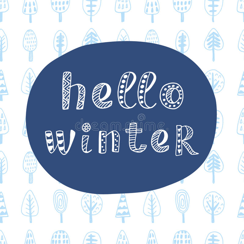 Download Hello Winter Modern Lettering In Ethnic Scandinavian Style Stock  Vector   Illustration Of Season,