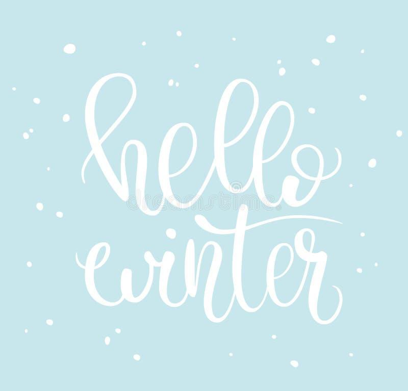 Hello winter phrase and snow stock illustration
