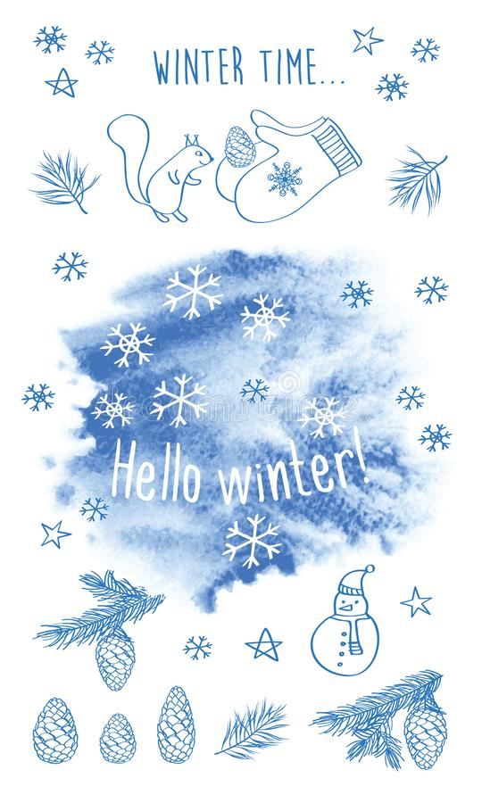 Hello winter. Set of Christmas, New Year pictures. Snowflakes on the blue watercolor background. stock illustration